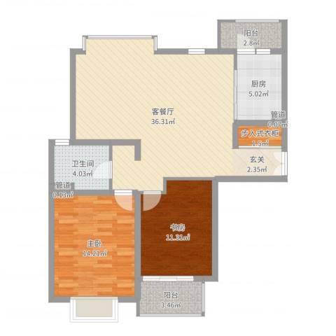 绿地海珀璞晖2室2厅1卫1厨99.00㎡户型图