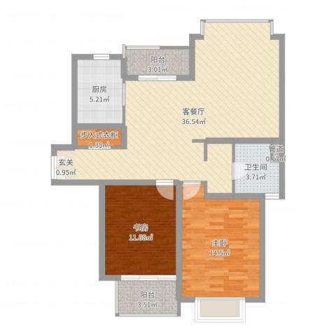 绿地海珀璞晖2室2厅1卫1厨100.00㎡户型图