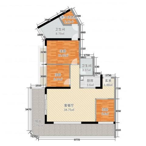 星河澜月湾3室2厅2卫1厨130.00㎡户型图