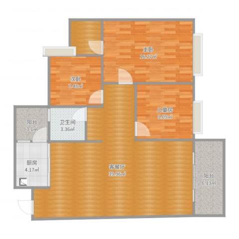 德达友谊茗城3室2厅1卫1厨116.00㎡户型图