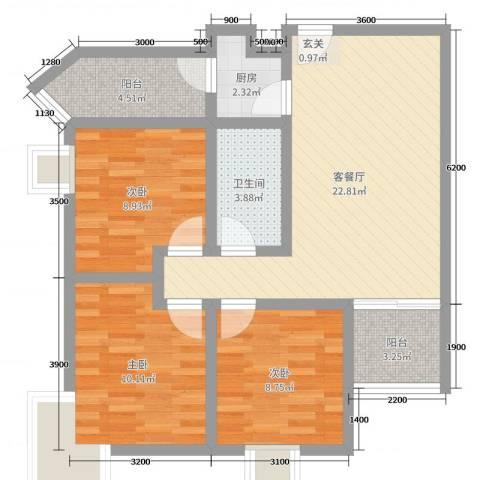 海棠湾3室2厅1卫1厨93.00㎡户型图