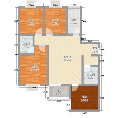 海棠湾4室2厅2卫1厨121.00㎡户型图
