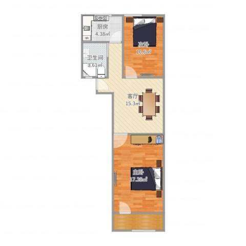 贝尔新村2室1厅1卫1厨68.00㎡户型图