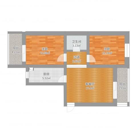 通州群芳三园2室2厅1卫1厨75.00㎡户型图