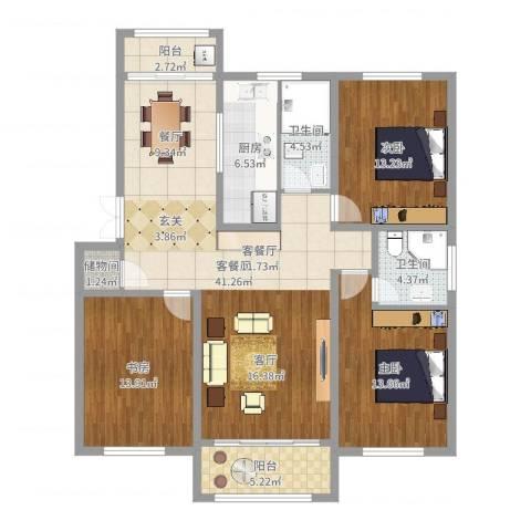富绿山庄3室2厅2卫1厨133.00㎡户型图