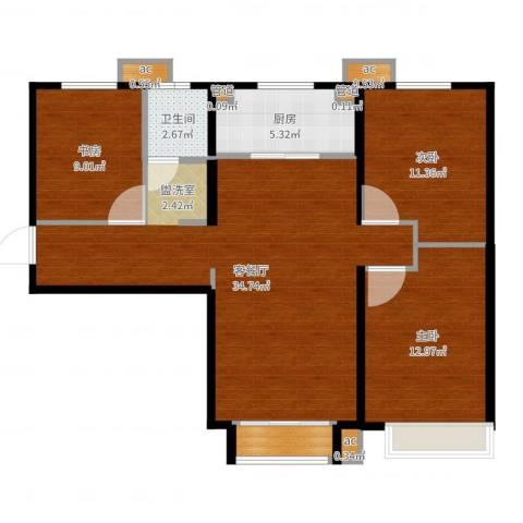 万科麓山(万科天泰金域国际二期)3室2厅1卫1厨100.00㎡户型图