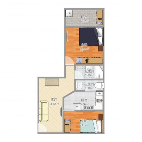 内江二村2室1厅2卫1厨53.00㎡户型图