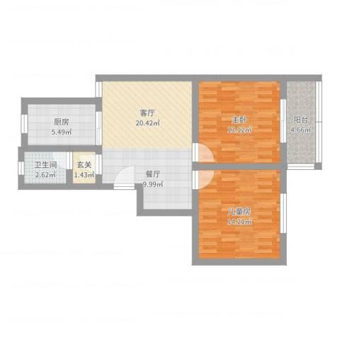 和美家园2室1厅1卫1厨61.94㎡户型图