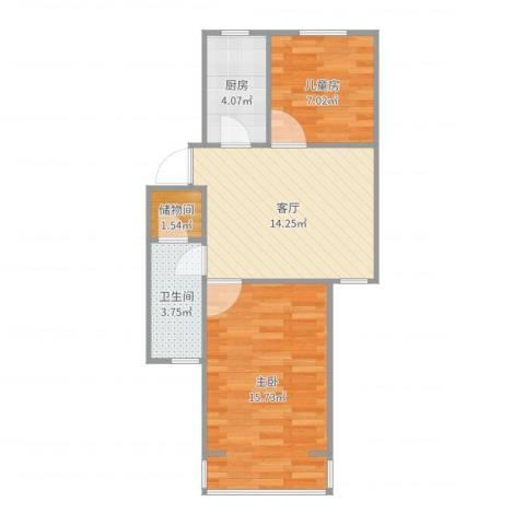龙柏二村2室1厅1卫1厨58.00㎡户型图