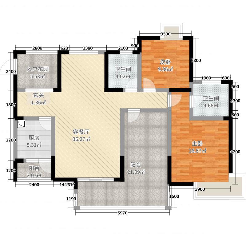 维多利亚・领秀123.00㎡A2户型2室2厅2卫1厨