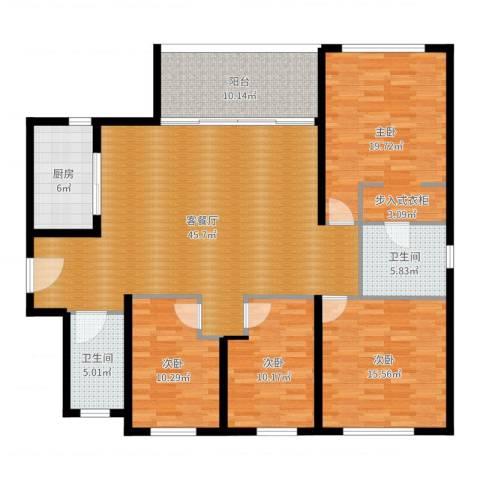万科金域华府三期4室2厅2卫1厨161.00㎡户型图