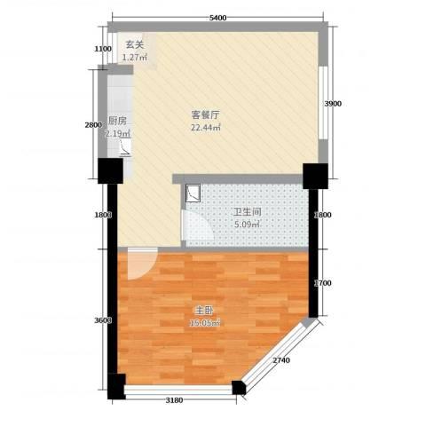 MINI公馆1室2厅1卫0厨74.00㎡户型图