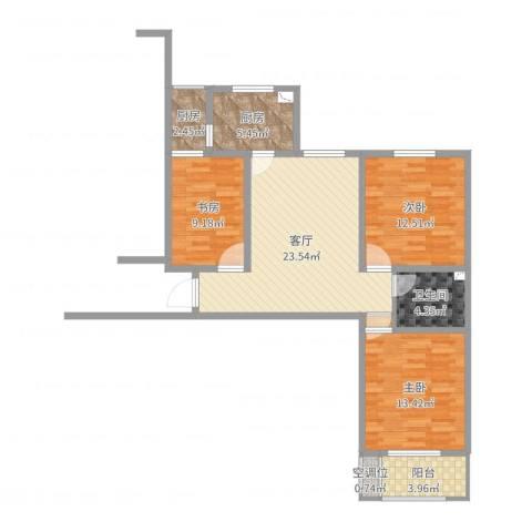 开源嘉苑小区3室1厅1卫2厨95.00㎡户型图