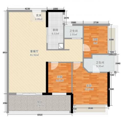 星河澜月湾3室2厅2卫1厨122.00㎡户型图
