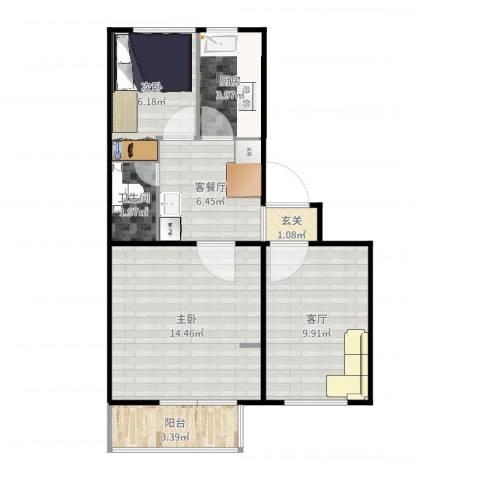 老山西里2室3厅1卫1厨59.00㎡户型图