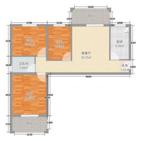 滏兴国际园二期3室2厅1卫1厨103.00㎡户型图