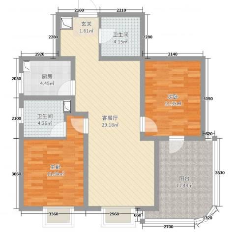 大湖城邦花苑2室2厅2卫1厨96.00㎡户型图