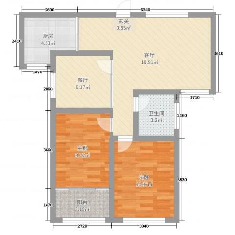华安东方明珠2室2厅1卫1厨70.00㎡户型图