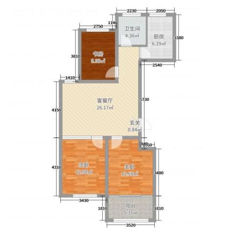 华安东方明珠3室2厅1卫1厨96.00㎡户型图