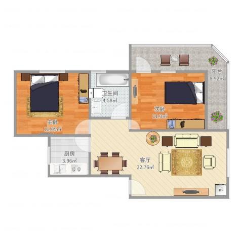 丰泽居2室1厅1卫1厨89.00㎡户型图