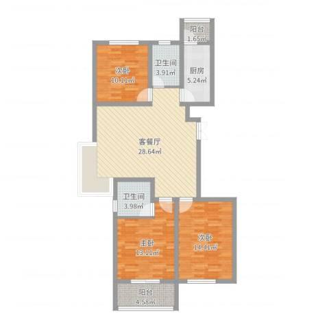润鑫・公园壹号3室2厅2卫1厨107.00㎡户型图
