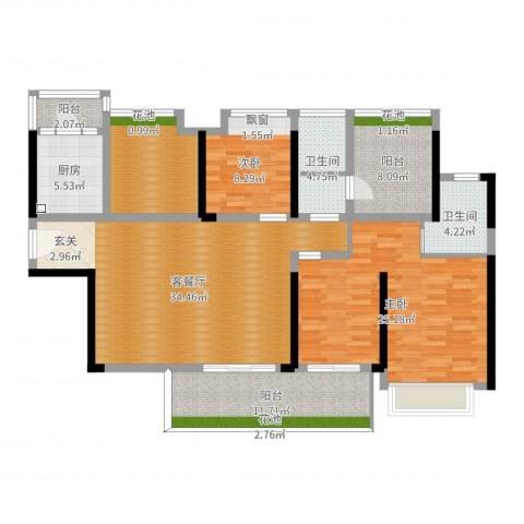 中洲天御花园2室2厅2卫1厨141.00㎡户型图