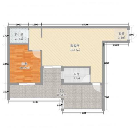 海滨花园1室2厅1卫1厨74.00㎡户型图