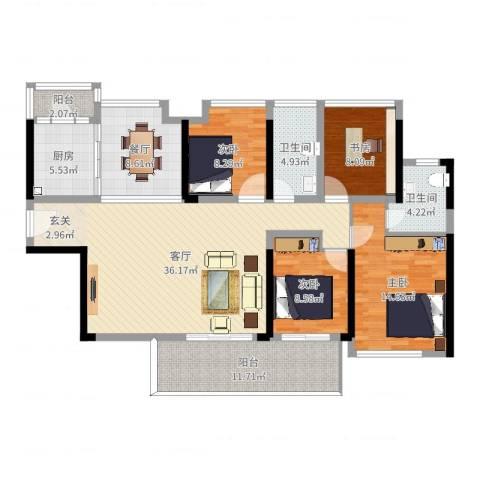 中洲天御花园4室2厅2卫1厨141.00㎡户型图