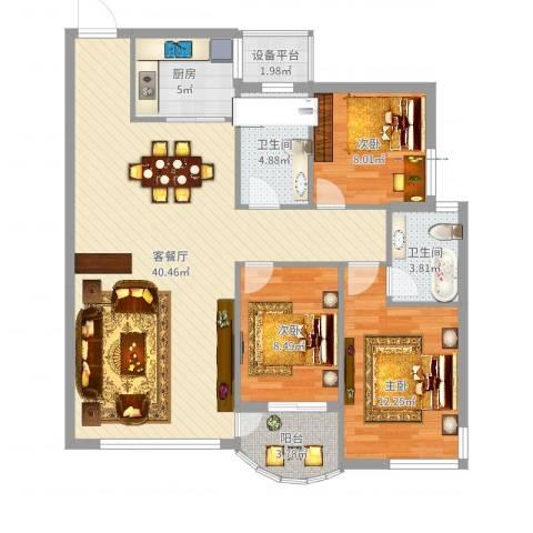 北岸琴森3室2厅2卫1厨111.00㎡户型图