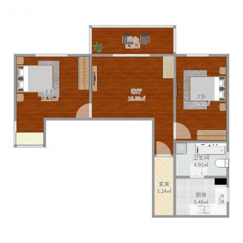 南菜园1号院2室1厅1卫1厨80.00㎡户型图
