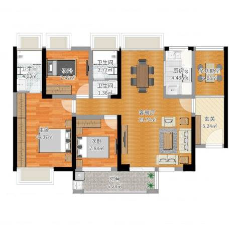 太阳湾3室2厅3卫1厨112.00㎡户型图