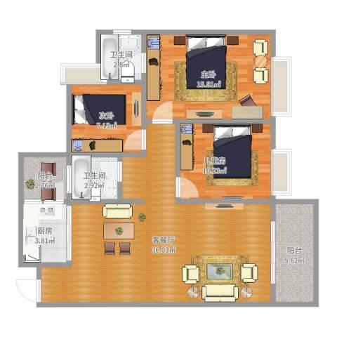 德达友谊茗城3室2厅2卫1厨109.00㎡户型图