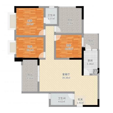 兰乔圣菲3室2厅2卫1厨138.00㎡户型图