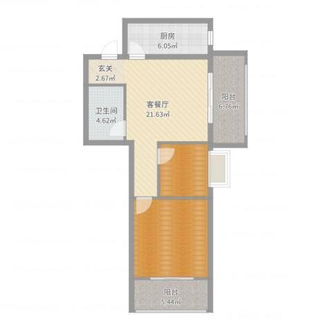来福花园1室2厅1卫1厨81.00㎡户型图
