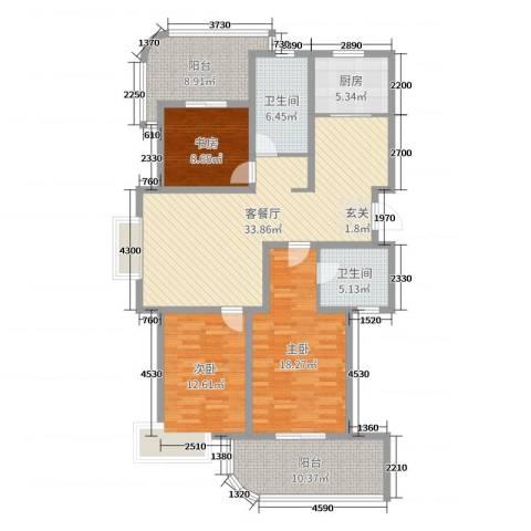 大湖城邦花苑3室2厅2卫1厨137.00㎡户型图