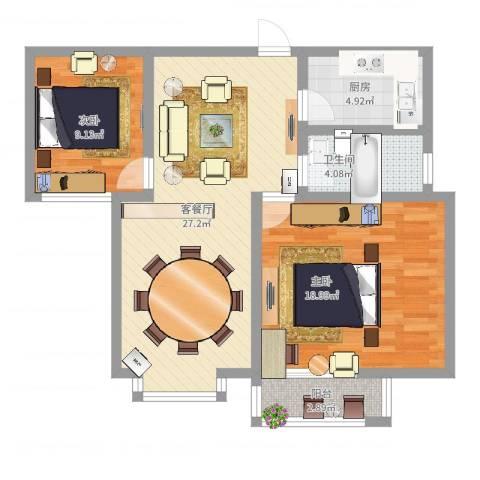 东方世纪城2室2厅1卫1厨97.00㎡户型图