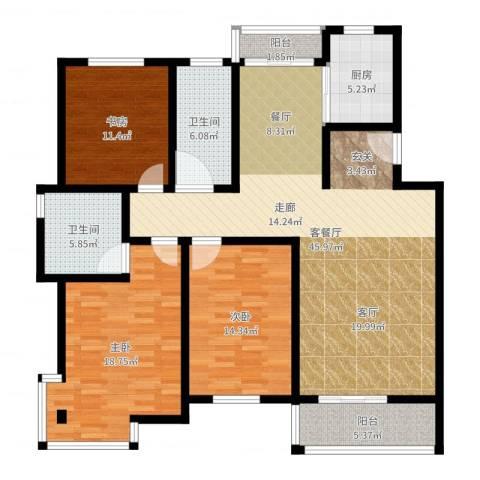 三景花园3室2厅2卫1厨144.00㎡户型图