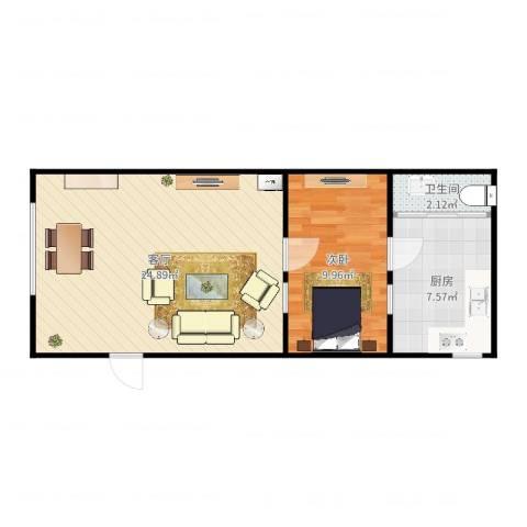 桂林路4-1011室1厅1卫1厨56.00㎡户型图