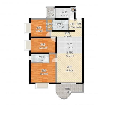 海珠信步闲庭3室2厅2卫1厨126.00㎡户型图