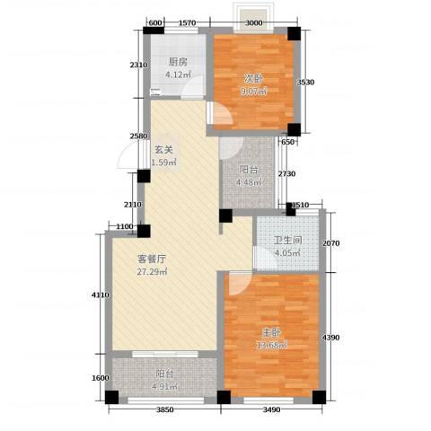 泰和铭庭2室2厅1卫1厨85.00㎡户型图