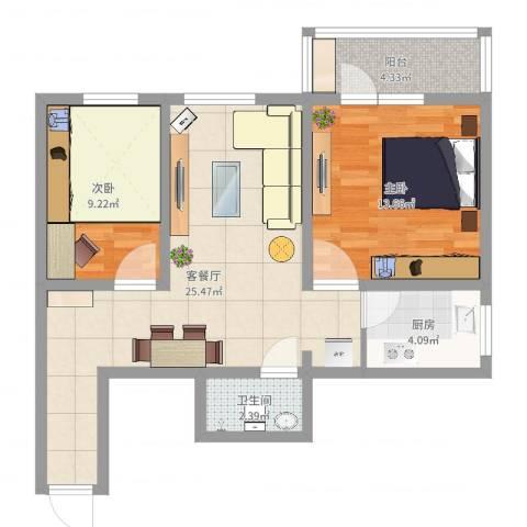 石榴园南里小区2室2厅1卫1厨74.00㎡户型图
