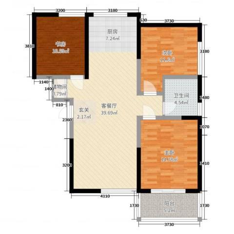 津华苑3室2厅1卫0厨109.00㎡户型图