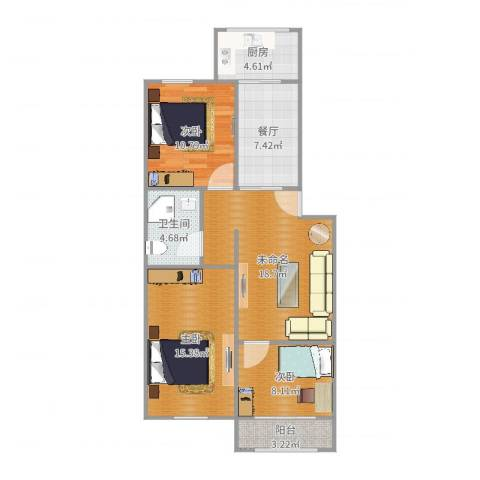 百花小区3室1厅1卫1厨91.00㎡户型图