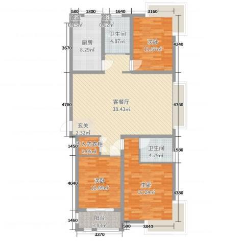 宝岛花园3室2厅2卫1厨129.00㎡户型图
