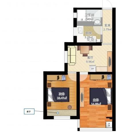 三里亭四区2室1厅1卫1厨55.00㎡户型图