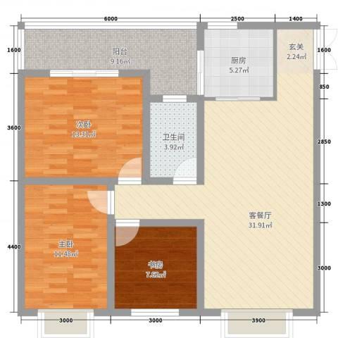 汇泽・蓝海湾3室2厅1卫1厨109.00㎡户型图