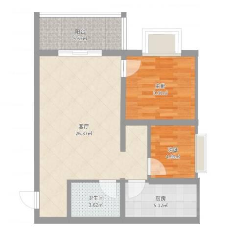 凯森福景雅苑2室1厅1卫1厨84.00㎡户型图