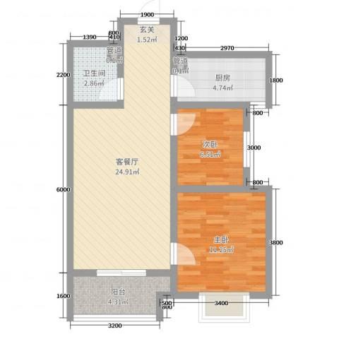 新欧洲2室2厅1卫1厨60.00㎡户型图
