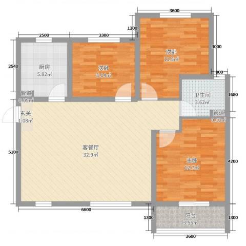 新欧洲3室2厅1卫1厨113.00㎡户型图