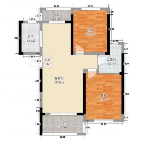 路通沁园2室2厅1卫1厨93.00㎡户型图